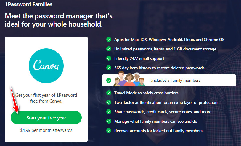 Promotional - 1Password Families Password Manager -1 Year [All