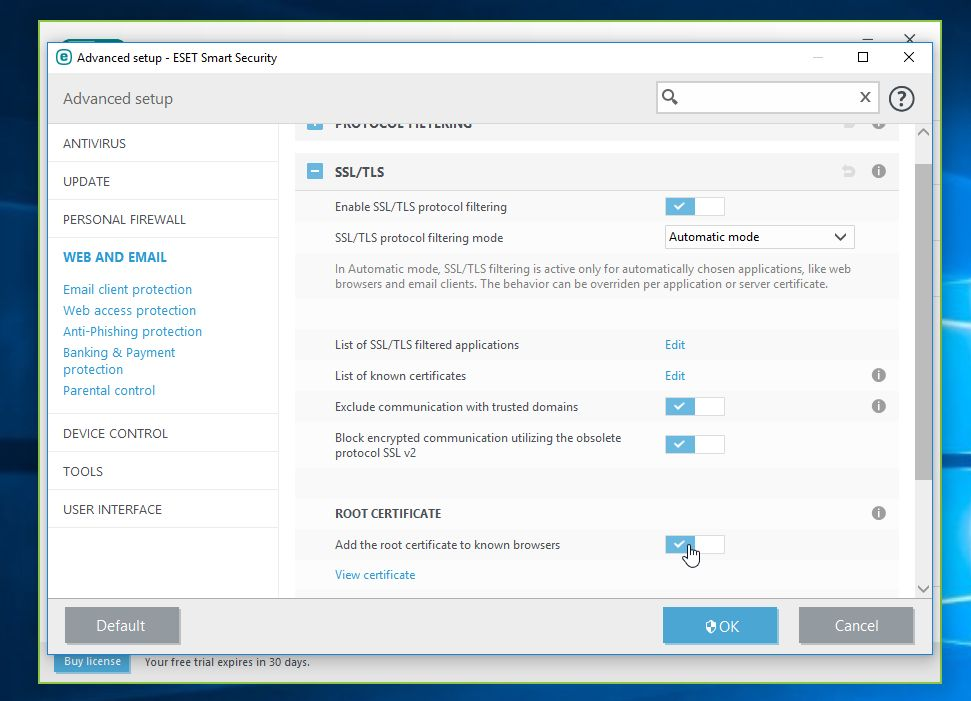How to remove ESET Smart Security SSL Certificate