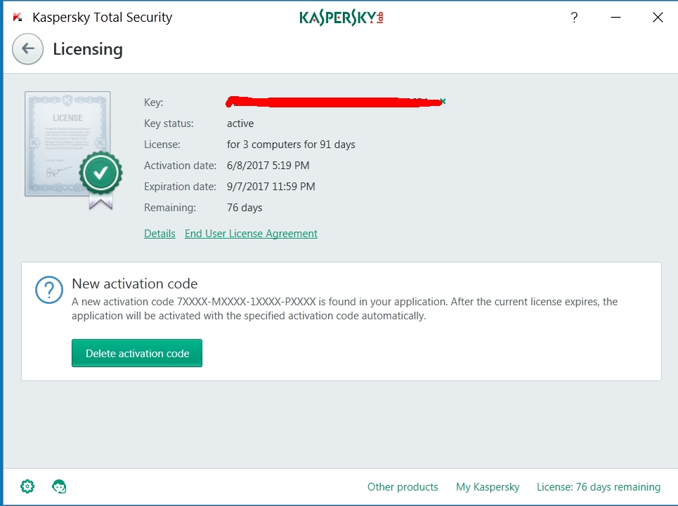 kaspersky activation code 2017 total security