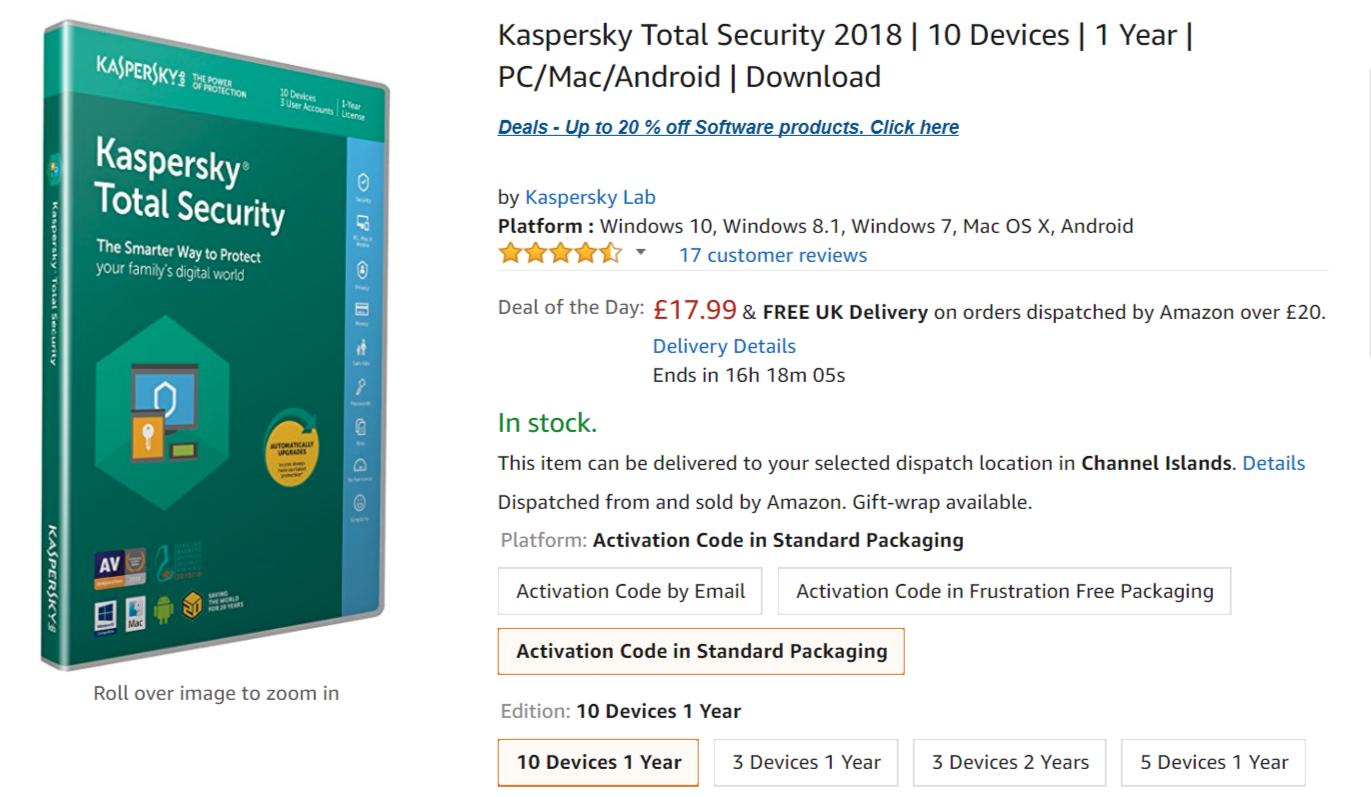 kaspersky total security 2018 version