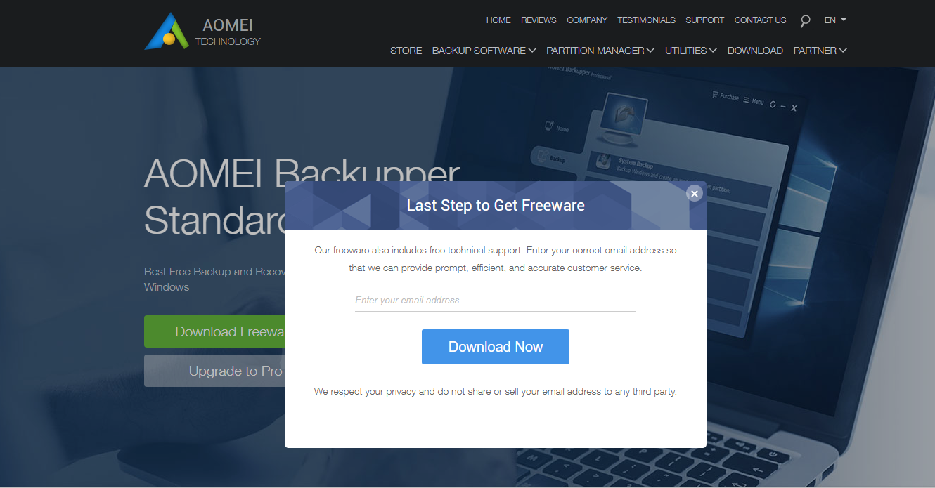 Troubleshoot - I can't download AOMEI Free Backupper on