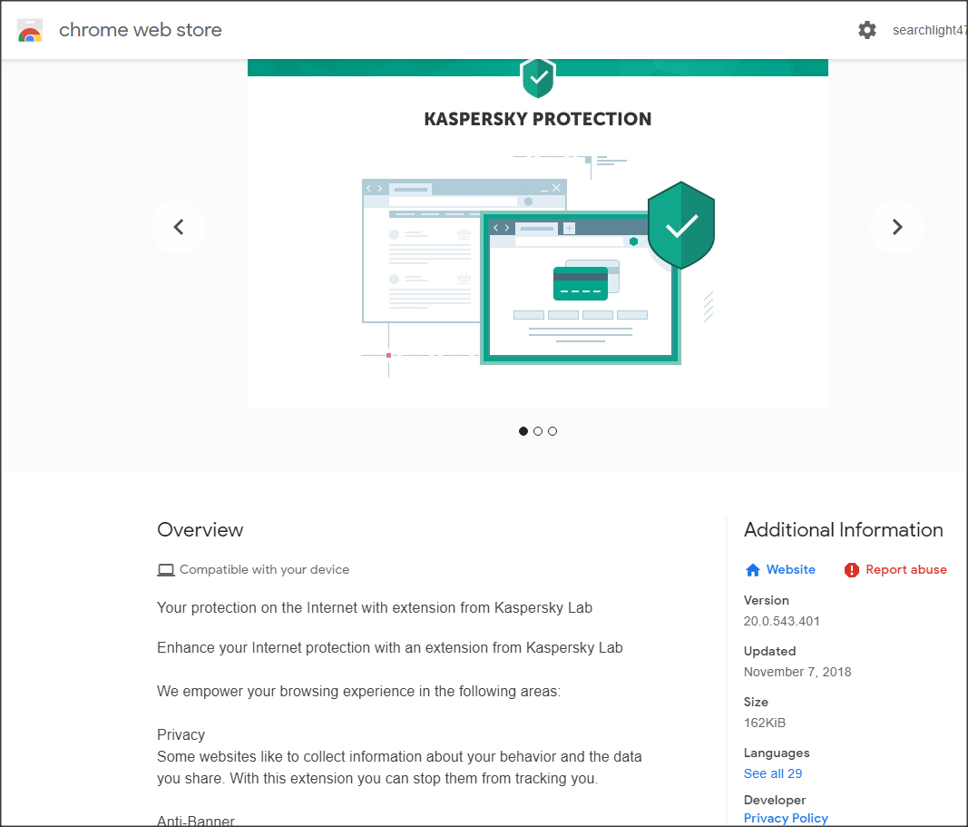 Q&A - Kaspersky Browser extension not Working in Chrome