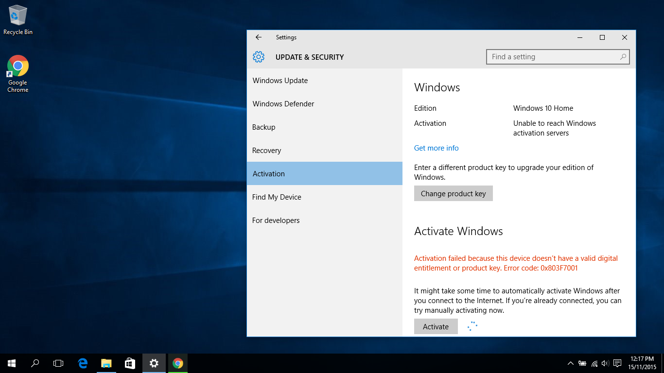 Problem solved windows 10 activation failed malwaretips forums now its just home i updated through the media tool i didnt find any option for the single language so i downloaded and installed the home version ccuart Choice Image