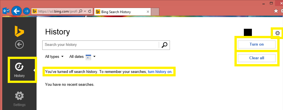 Tutorial - Turn Off Bing.com Search History