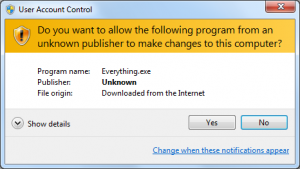Yellow UAC prompt