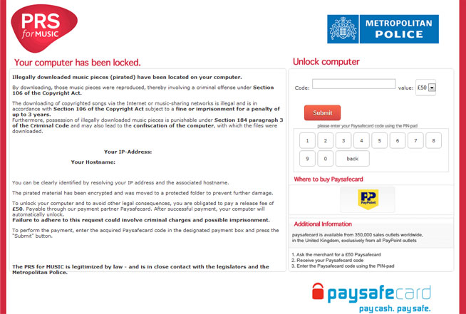 """Remove """"PRS for Music"""" virus (Removal Guide)"""
