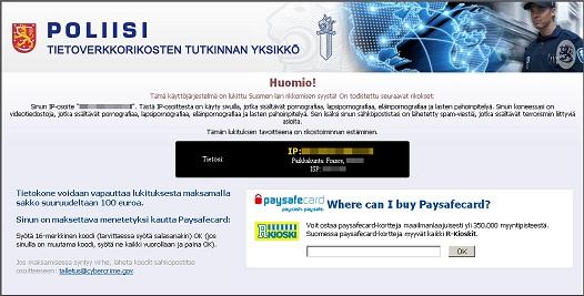 Remove Poliisi Tietoverkkorikosten tutkinnan yksikkö Ransomware