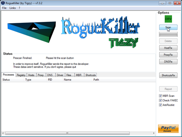 RogueKiller scanning after Trojan:JS/Medfos.B virus virus