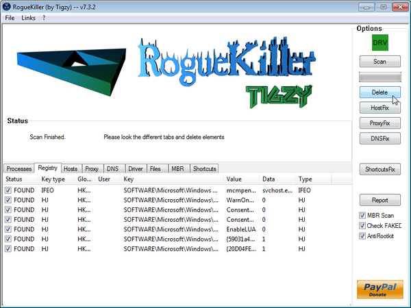 Remove Trojan:JS/Medfos.B virus  infection with RogueKiller