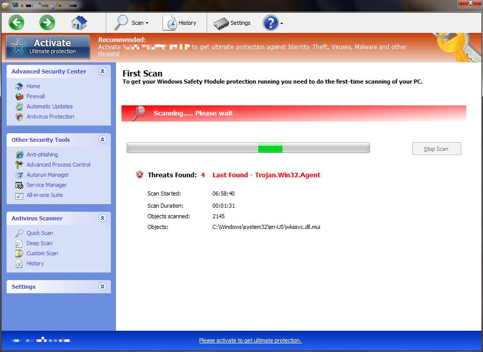 [Image: Windows Safety Module fake scan]
