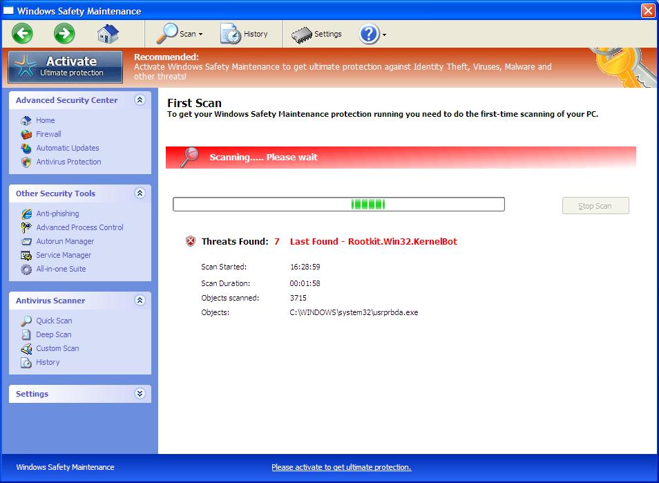[Image: Windows Safety Maintenance Fake Scan]