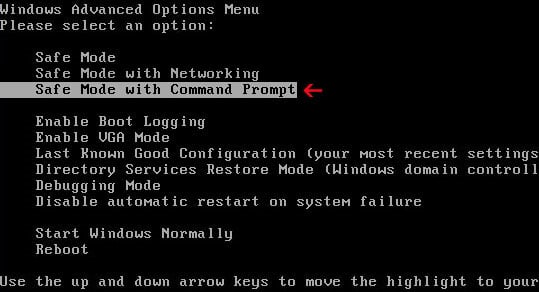 Enter Safe Mode with Command Prompt