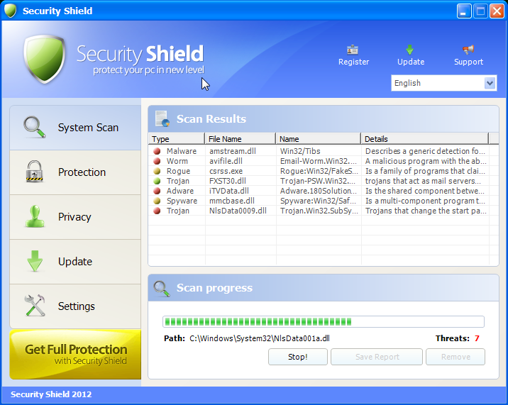 Remove Security Shield 2012 or Security Shield virus