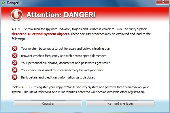 Win 8 Security System Alert