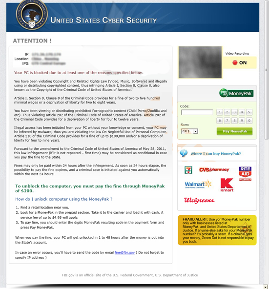 United States Cyber Security (MoneyPak Alert)