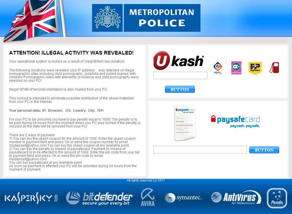 Remove Metropolitan Police Virus Removal Guide