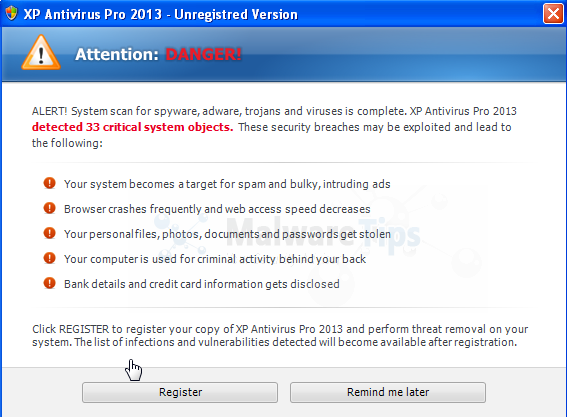XP Antivirus Pro 2013 warning