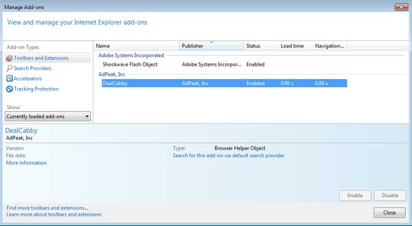 [Image: DealCabby add-on in Internet Explorer]