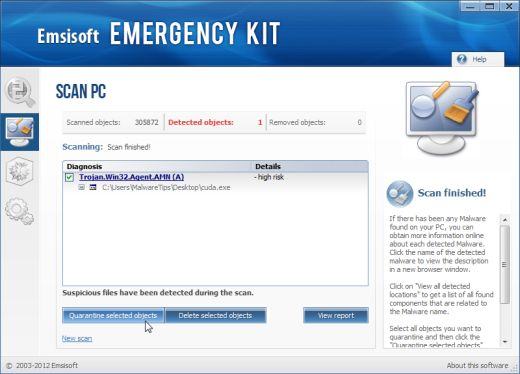 Emsisoft Emergency Kit removing malware