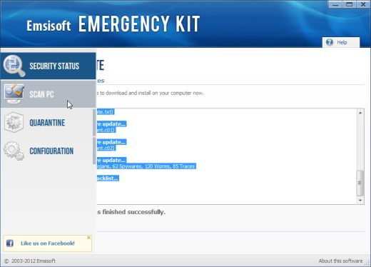 Emsisoft Emergency Kit scan tab