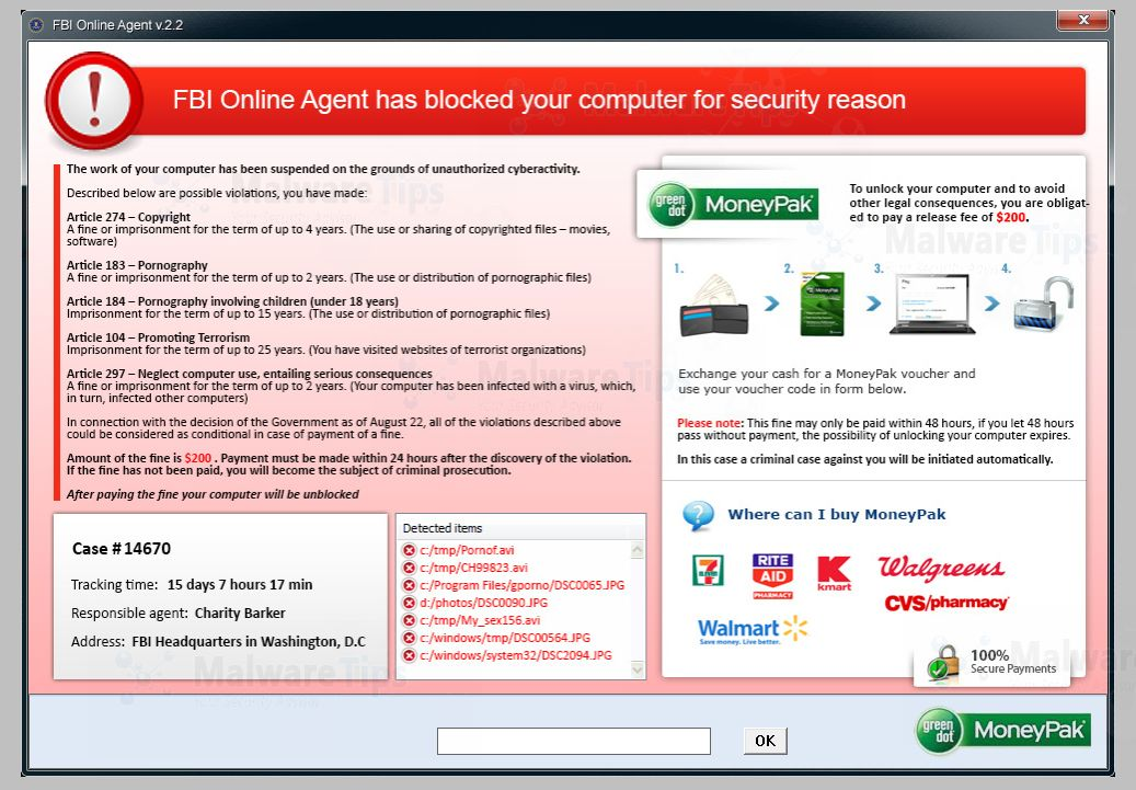 FBI Online Agent MoneyPak virus