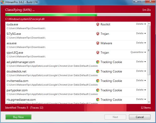 HitmanPro scanning for Websearch.homesearch-hub.info virus