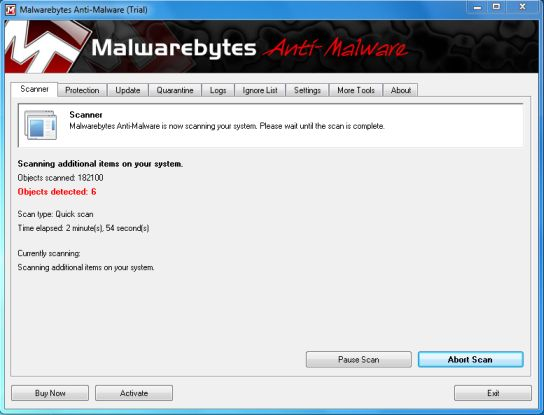 Malwarebytes Chameleon quick scan