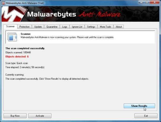 Malwarebytes Chameleon scan results