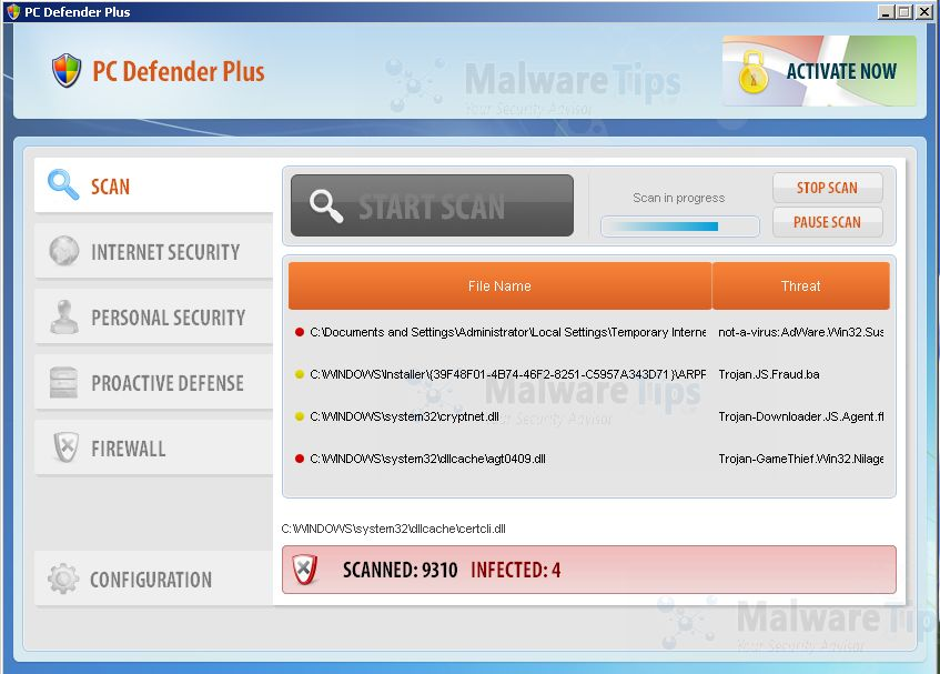 PC Defender Plus while scanning