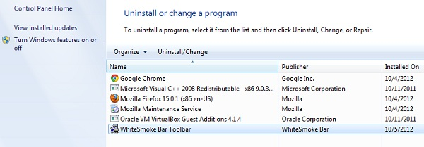 WhiteSmoke Toolbar uninstaller