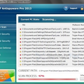 Win 7 Antispyware Pro 2013 bogus scan