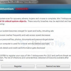 Win 7 Antispyware Pro 2013 Warning