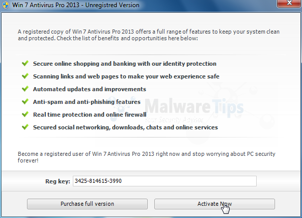 Win 7 Antivirus Pro 2013 activation code