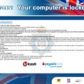 Your computer has been locked! West Yorkshire Police virus