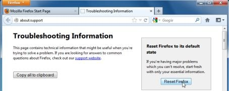 Firefox default settings  to remove WebSearch.ExitingSearch.info pop-up virus
