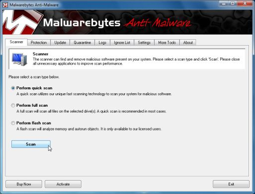 Malwarebytes Anti-Malware quick scan