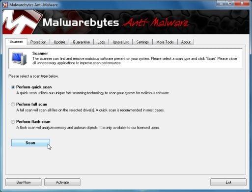 Malwarebytes                                       Anti-Malware quick scan