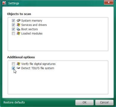 Kaspersky TDSSKiller Detect TDLFS file system