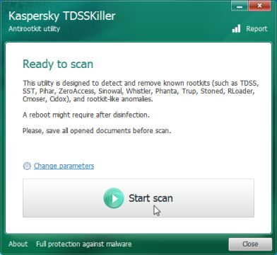 Kaspersky TDSSKiller start scan