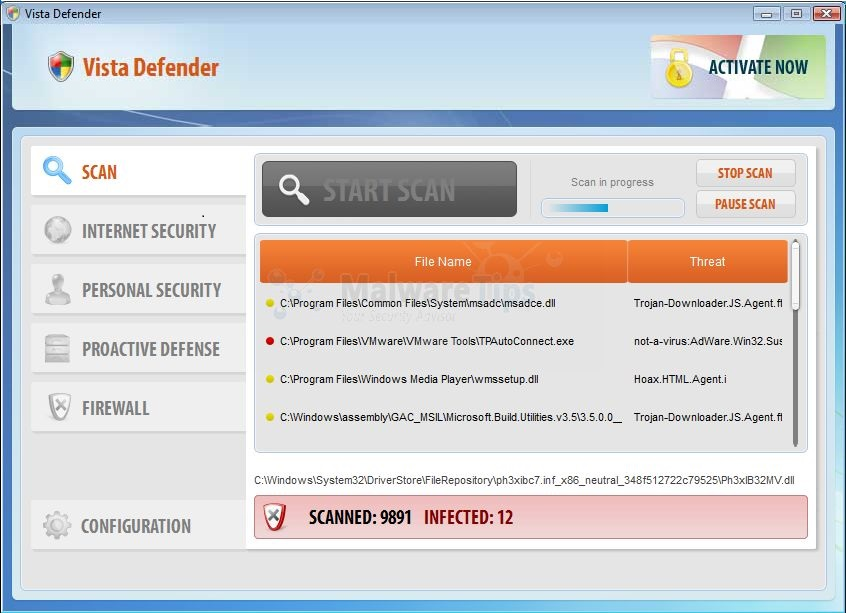 Vista Defender malware