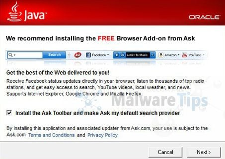[Image: Ask Toolbar installation via Java installer]