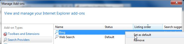 [Image: Change to                                       default search engine in Internet                                       Explorer]
