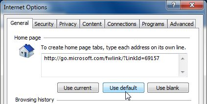 [Image: Set Internet Explorer to its default homepage]