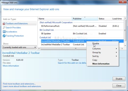 MyStart Incredimail Internet Explorer extensions