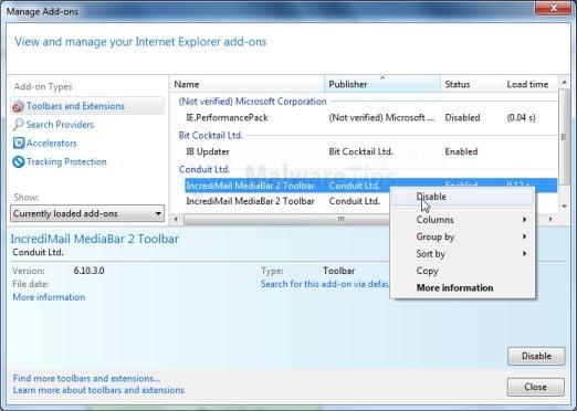 Set internet explorer default search engine from mystart incredimail