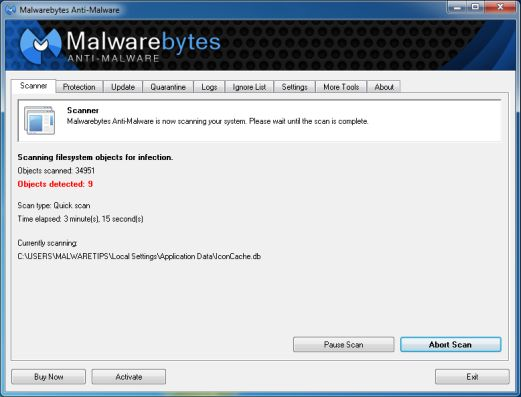[Image: Malwarebytes Anti-Malware scanning for OurWorld Toolbar virus]