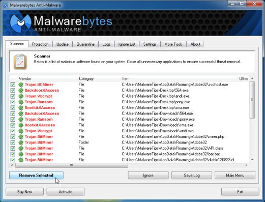 [Image: Malwarebytes Anti-Malwar removing Trojan:Win32/QHosts virus]