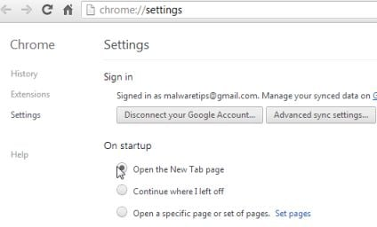 [Image: Modifica home page di Google Chrome al suo valore predefinito]