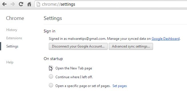 [Image: On Startup Page Chrome]