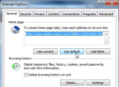 [Image: Delta Search Internet Explorer home page]
